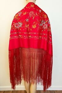 Vintage Red Satin EMBROIDERED PIANO SHAWL Long Fringe Floral