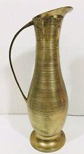 Vintage Brass Pitcher Vase Ribbed Striped w/ Handle MCM Hollywood Regency India
