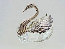 WONDERFUL STERLING SILVER / CRYSTAL FIGURAL SALT CELLAR SWAN BIRD FINE QUALITY