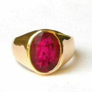 Natural Ruby Gemstone with Gold Plated 925 Sterling Silver Ring for Men's EG1652