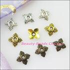80Pcs Tibetan Silver Gold Bronze Square Leaf End Bead Caps Connectors 6mm