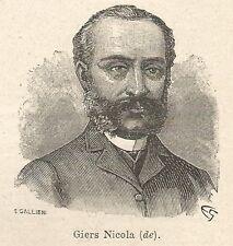 A7685 Nicola de Giers - Xilografia - Stampa Antica del 1927