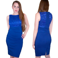 Womens Embroidery Net Ladies Lace Dress Bodycon Sleeveless Mini Celebrity Fitted