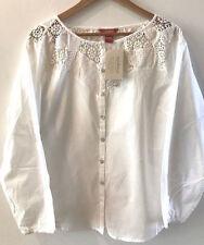 SUNDANCE CATALOG Lace Mosaic White Cotton Blouse Top LARGE NWT!!