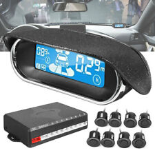 Black 8 Parking Sensor Dual-core Front/Rear LCD Display Car Reverse Backup Radar