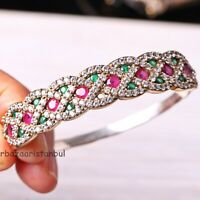 Turkish Jewelry Handmade 925 Sterling Silver Ruby Emerald Bracelet Bangle Cuff8