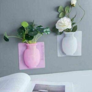 Pink Magic Silicone Bottle Sticker Vase Glass Wall Flower Pots Decor Reusable