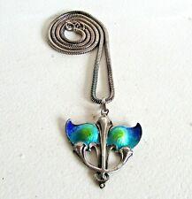 Antique Art Nouveau Silver and Enamel Pendant.