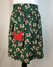 Christmas Themed Small Half Apron Teddy Bears Holly Berries Green Red Pocket