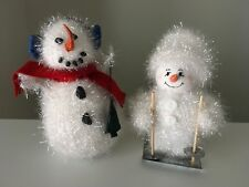 "Fuzzy Mr. & Mrs. Snowman 7"" Holiday Decor"