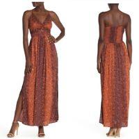 NWT Angie Keyhole Orange Smocked Floral Striped Summer Sun Maxi Boho Dress S/M/L