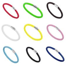 Mens Genuine Leather Braided Bracelet Wristband Colours Magnetic Clasp 6mm