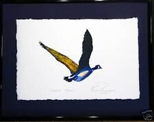 Canada Goose in  Flight, Original Framed Watercolor