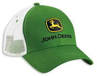 NEW John Deere Green Twill White Mesh Cap JD Hat LP41957