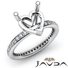 Diamond Anniversary Classic Womens  Ring 0.51Ct 14k White Gold Heart Semi Mount