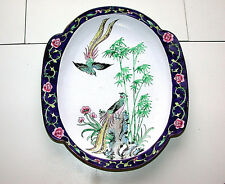 Rare Chinese Canton Famille Rose Bird Scene Enamel On Brass Oval Tray w/Handles