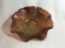 "Vintage Northwood Carnival Glass Amethyst Hearts & Flowers Ruffled Rim Bowl 9"""