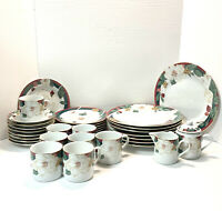 Tienshan Fine China Magnolia 34 Piece Vintage Dinnerware Set