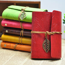 Vintage String Leaf Leather Notebook Travel Diary Paper Journal Book Sketchbook