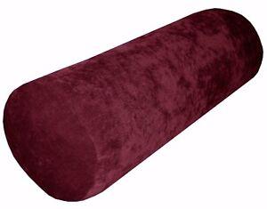 Ma25g Maroon Sofa Chenille Velvet Bolster CASE Neck Roll Tube Cushion COVER Size