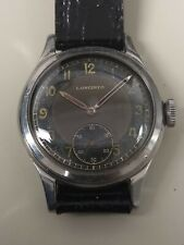 Vintage 1940s Longines Black Radium Dial Wristwatch. Cal. 12.68z. 33mm Case.