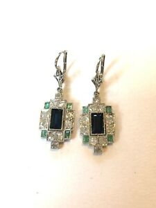 Art Deco Sapphire, Emerald and Diamond Earrings