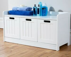 Colonial Bathroom 3 Drawer Bench Storage Seat Tong & Groove Effect - White