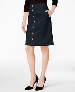 Charter Club Navy Blue Women's Button-Front Corduroy Skirt Size 14