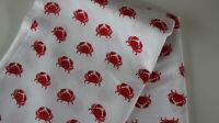 SALE -Baumwollstoff  1,00 x 1,40 Krabbe auf weiß