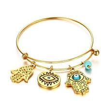 Womens Stainless Steel Bracelet Turquoise Hamsa Hand Charm Cuff Bangle Gold