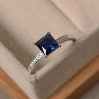 1.40 Ct Natural Princess Cut Blue Sapphire Diamond Ring 14K White Gold Size 6.5