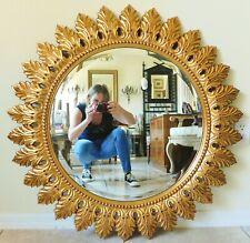 """Large The Bombay Company 36"""" Ornate Gold Sunburst Beveled Hanging Wall Mirror"""