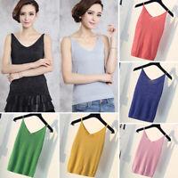 Women Shiny Sleeveless Sparkle Camisole Shiny Tank Top Vest T-Shirt Blouses