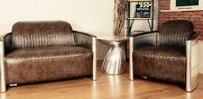 1+2 Seater Sofa Industrial Aviation Dark Brown Bicast/PU Leather Made to Order