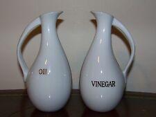 Oil & Vinegar Cruet Set Vintage Japan OMC Otagiri White