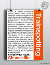 TRAINSPOTTING Monologue 'Choose Life' Movie Poster, Typography Film Posteritty