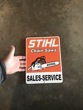 Stihl Chainsaw Sign Stainless Steel Metal Dealer Gas Coal Brilliant Orange Axe!