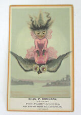 Vintage Halloween Trade Card Grocer Lancaster Pa Witch Rides Owl 1910s -20s