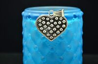 925 STERLING SILVER BEADED HEART PENDANT CHARM #X17516