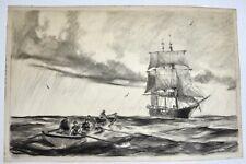 New ListingOriginal 1946 Gordon Grant Seascape Drawing - Maritime Ship Sailing Schooner