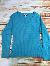 ANN TAYLOR LOFT V-Neck Sweater Turqoise Cable Knit Women's Small