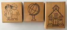 3 Elementary School Rubber Stamps Wood Mounted 2 Kids World Globe Building