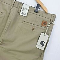 Carhartt WIP Johnson Pant 8.75oz Rinsed Cortez Twill Leather W40 L32 Beige Sand