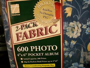 "2 LOT VINTAGE BLUE FABRIC yellow photo album 4 x 6 "" pocket sheets sealed nip"