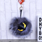 Leather Mink Fox Genuine Real Fur Monster Pom Ball Charm Key Chain Bag Hand Bag
