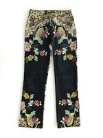 Authentic ROBERTO CAVALLI Womens Jeans Made in Italy Leopard Floral Printed Sz M