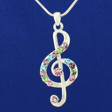 Treble Clef Pendant Made With Swarovski Crystal Music Song Multi Color Necklace