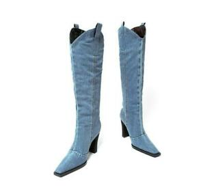 Retro Western Faux Ladies Knee-Length Boots Pointed Toe High-Heeled Cowboy Shoes