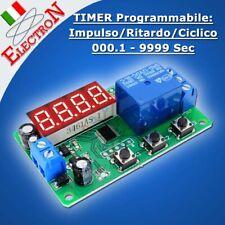 TIMER 12V TEMPORIZZATORE / RITARDO / CICLICO Programmabile 0.1-9999 Sec RELE'