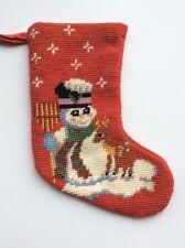 "Christmas Stocking Snowman Reindeer Frosty Mini Handmade Needlepoint Vtg 10"" Red"